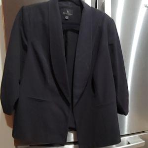 Worthington Black 3/4 Cinch Sleeve Blazer 1X